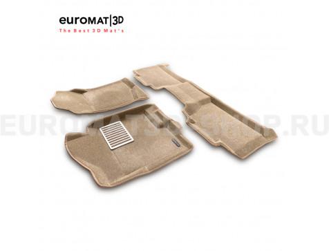 Текстильные 3D коврики Euromat3D Lux в салон для Cadillac Escalade (2007-2014) № EM3D-001302T Бежевый